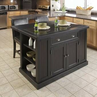 Harris Kitchen Island With Granite Top Reviews Birch Lane In 2020 Black Kitchen Island Kitchen Interior Portable Kitchen Island