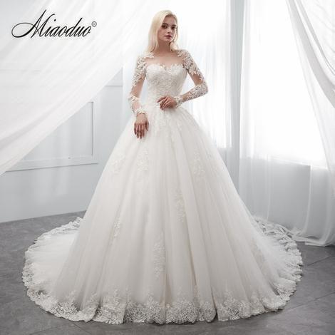 2c7f07eacf46 Miaoduo vestidos de novia 2019 long robe de soiree bride Dress Real Photos  trouwjurk Ivory Wedding Dress Bridal Gowns