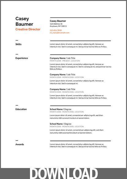 45 Free Modern Resume Cv Templates Minimalist Simple Clean Design Downloadable Resume Template Resume Template Professional Business Resume Template