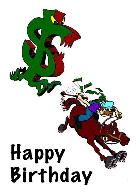 Cartoon dollar sign chasing man on horse card in 2019