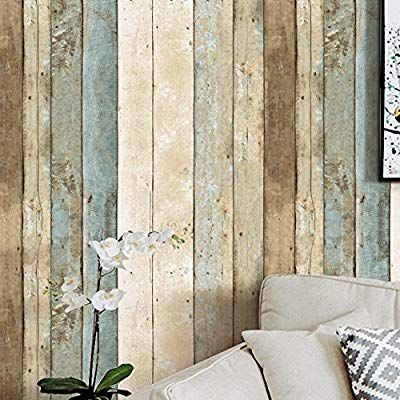 Amazon Com Blooming Wall 0205 Multicolored Vintage Distressed Wood Panel Wood Plank Wallpaper Wall Mu Wall Wallpaper Bedroom Wall Designs Wood Plank Wallpaper