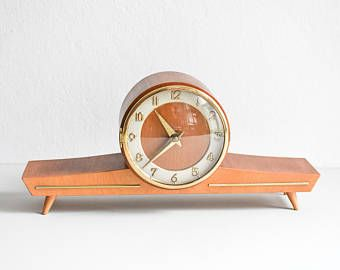 Mantel Clock Desk Clock Wooden Clock Wooden Mantel Clock Mid Century Clock Modern Clock Wooden Mantle Clock Wooden Desk Clock Vintage Mid Century Mantle