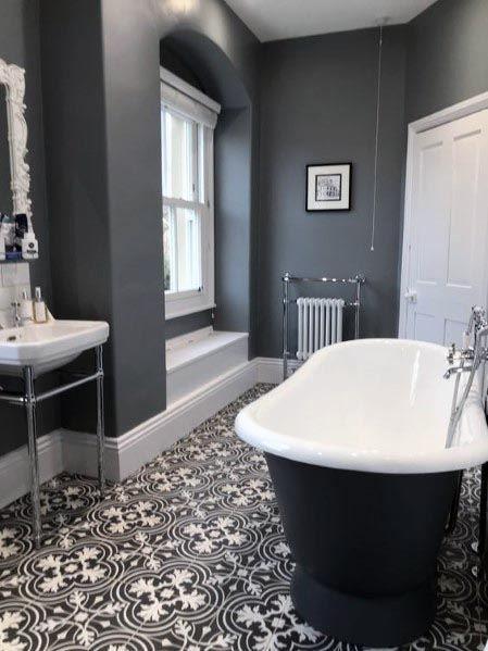 Top 60 Besten Grauen Badezimmer Ideen Interior Design Inspiration Mann Stil Tattoo Badezimmer Design Viktorianisches Badezimmer Badezimmer Hutte