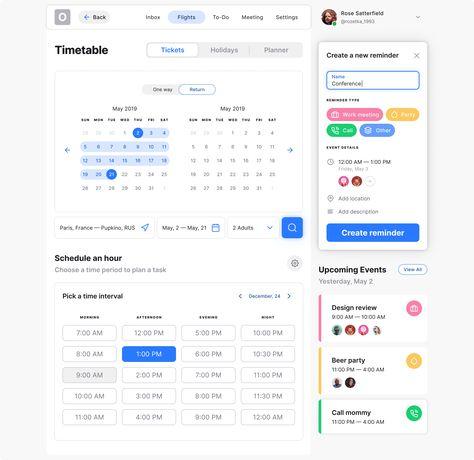 Calendar datepicker UI design template desktop