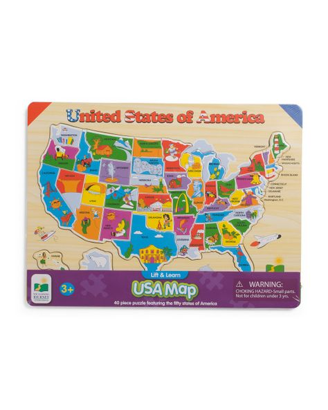 40pc+Lift+&+Learn+Usa+Map+Puzzle | Gifting | Map puzzle ...