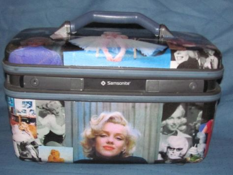 Marilyn Monroe themed upcycled vintage train case makeup bag