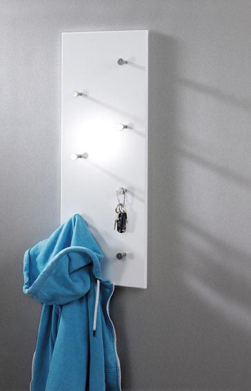 Wandgarderobe Weiss Chrom Nickel Stahl Mdf 80x5 5x30cm