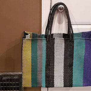 Made in Oaxaca Market Bag Beach bag LARGE MEXICAN PLASTiC BAG Oaxaca Handwoven Tote