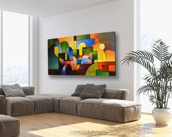 Modern Art Abstract Painting Print Made From The Original Etsy Giclee Painting Geometric Painting Abstract Tree Painting