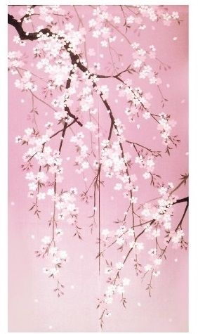 Noren Are Split Curtains Used In Place Of Doors As Entrances To Japanese Shops And As Doorways Cherry Blossom Art Cherry Blossom Painting Cherry Blossom Japan