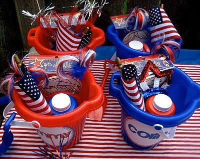 4th of July cookout / party buckets for kids...think im gonna do this for the kids this yr @ jenifer barrer
