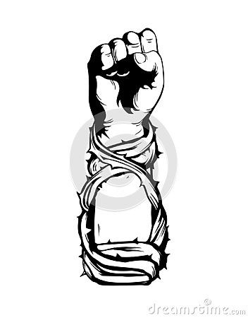 Winner S Fist Wrapped In Vine Thorns On Black Background The Hand Clenched Into A Fist Symbol Of Battles Winner Image Illustration Fist Black Backgrounds