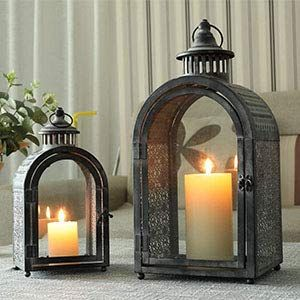 Jhy Design Set Of 2 Antique Grey Decorative Lanterns Metal Candle Lanterns For Indoor Outdoor Events In 2020 Metal Candle Lanterns Lanterns Decor Lantern Candle Decor