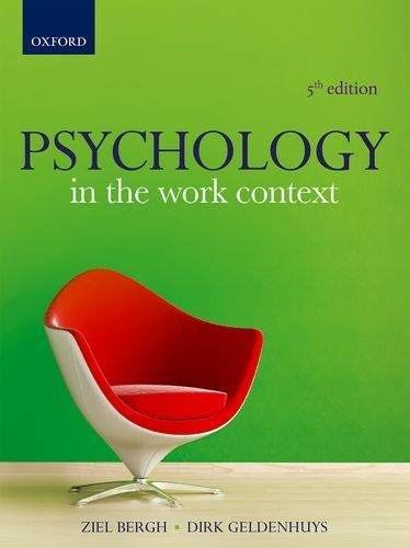 Psychology In The Work Context By Edited By Ziel C Bergh In 2020