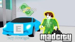 Getting The Avenger Fastest Car In Mad City Roblox Codes - all the cars in mad city roblox
