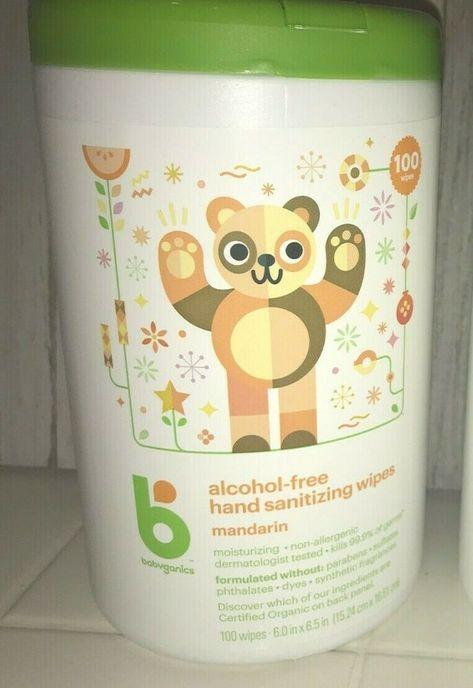 Babyganics Hand Wipes 100 Count Alcohol Free Canister Mandarin