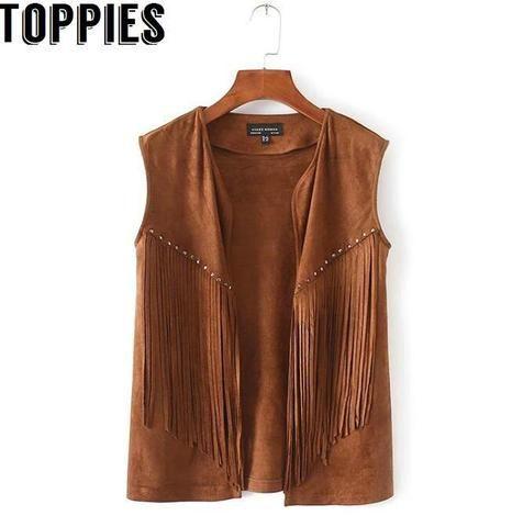 Boho Western Vintage Hippi Faux Suede Leather Fringe Long Vest Cardigan S M L BR