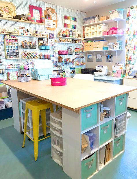Craft Room Design Ikea Storage Ideas For 2019 Sewing Room Design, Craft Room Design, Craft Room Decor, Craft Room Storage, Sewing Art, Ikea Storage, Craft Art, Table Storage, Sewing Studio