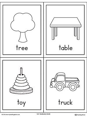 Letter T Words And Pictures Printable Cards Tree Table Toy Truck Letter T Words Printable Cards Letter Flashcards Letter t worksheets flashcards coloring