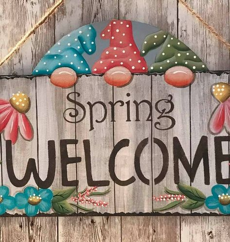 Spring Welcome Welcome Sign Wood Door Christmas Gnome, Christmas Wood, Christmas Signs, Christmas Crafts, Rock Crafts, Diy Crafts, Gnome Paint, Easter Paintings, Wood Craft Patterns