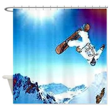 Teen Boys Bathroom Decor Skate Boarder Fabric Shower Curtain. White And  Turquoise Shower Curtain. Perfect For Teen Boys Bathroom Decor | Pinterest  | Teen ...