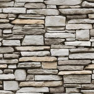Tempaper Grey Stone Multi Vinyl Peelable Roll Covers 56 Sq Ft Hd595 The Home Depot Faux Stone Wallpaper Faux Stone Walls Peel And Stick Wallpaper