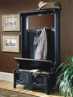 hall tree with mirror, storage bench