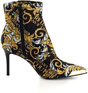 Bottines A Talons Versace Jeans Couture Couture En Tissu Stretch Noir Avec Logo Baroque Multicolore 38 Eu Amazon Fr Chaussures E In 2020 Heels Boots Heeled Boots