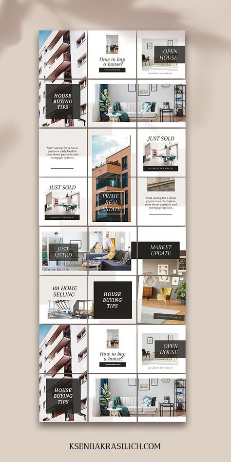 Real Estate Instagram puzzle grid feed template layout | Realtor branding canva social media post bu