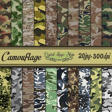Army Military Camouflage Digital Papers - 20 pcs (paper crafts,card making,scrapbooking)