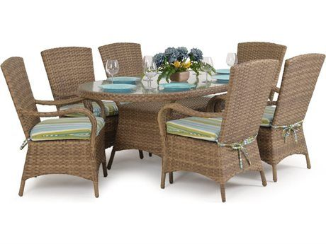 Palm Springs Rattan Alexandria Wicker Dining Set In 2021 Wicker Dining Set Wicker Dining Tables Patio Furniture Sets