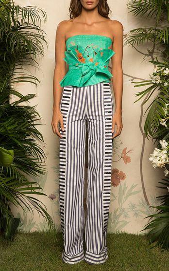 Johanna Ortiz Resort 2017 Green Celia Top and Belt $895, Morgan Striped Cotton Poplin Pants $1,150