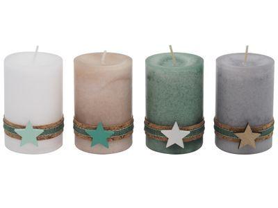 4 Adventskerzen Kerzen Stumpenkerzen Holz Stern Weihnachten Advent