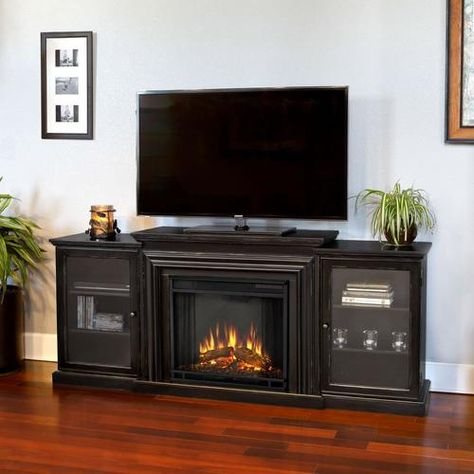 Real Flame 72 In W Blackwash Fan Forced Electric Fireplace Lowes