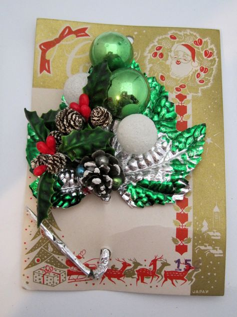 MOC Christmas Corsage Holly Berries Frosted Ball Pinecones w Beads | eBay