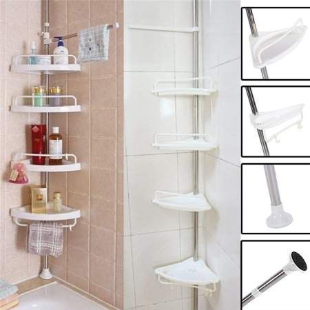 4 Layer Bathroom Corner Rack Adjustable Telescopic Shower Caddy Pole Storage Wall Storage Holder Walmart Com Shower Shelves Bathroom Corner Shelf Corner Shower Caddy