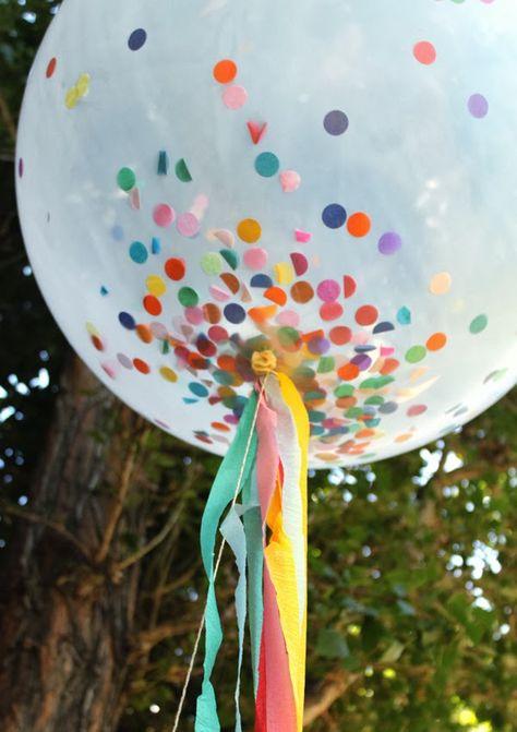 Confetti Birthday Party | confetti filled balloon w streamers.