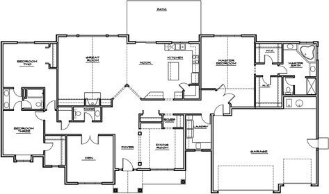 Simple House Plans Open 44 Ideas Rambler House Plans Basement House Plans Porch House Plans