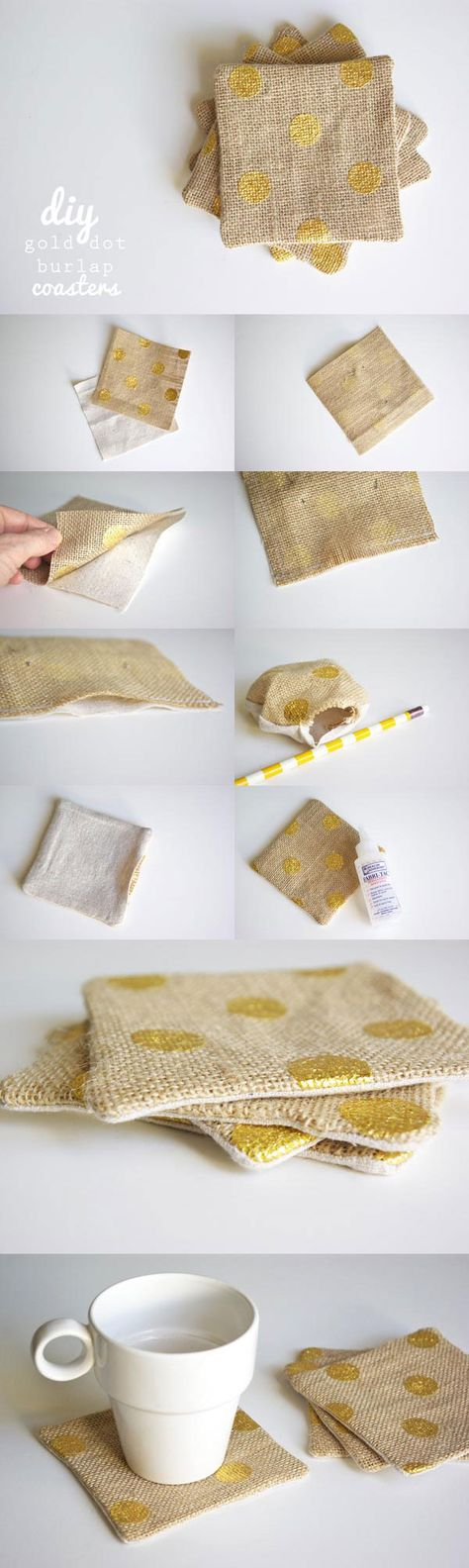 DIY (Gold Dot) BURLAP COASTERS :: Super easy to make with some string, unbleached cotton (or linen would work) and burlap. (She purchased hers with the gold dot already on it from Joann's, but you could make your own w/ gold some craft paint and fabric paint additive mixed together...or just use plain burlap and stencil a cute design or word on!). CLICK for the full tutorial. Great for beginner sewers!