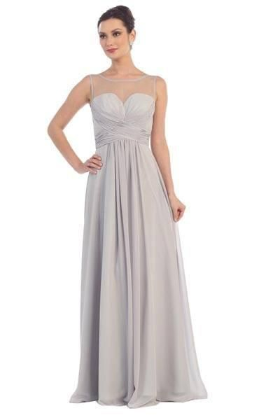 e8bd1a97021 Simply elegant long chiffon bridesmaid dress with sheer illusion  neckline.This empire waist dress is accented with a ruched bodice and lace  up corset back.