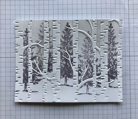 How-to put puctures behind embossing - Ramblin' Stamper: Embossing Folder Technique - Quick & Easy Christmas Card! Card Making Tips, Card Making Tutorials, Card Making Techniques, Making Ideas, Embossing Techniques, Homemade Christmas Cards, Simple Christmas, Christmas Tree, Handmade Christmas