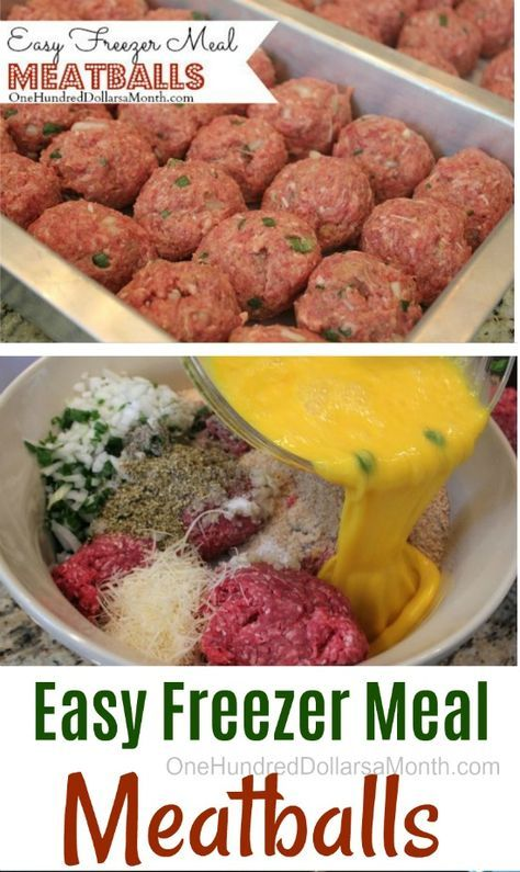 Easy Freezer Meatballs - Easy Freezer Meal Meatballs – One Hundred Dollars a Month - Freezer Friendly Meals, Budget Freezer Meals, Healthy Freezer Meals, Easy Meals, Freezer Cooking, Inexpensive Meals, Frugal Meals, Freezer Meal Party, Cooking Pork