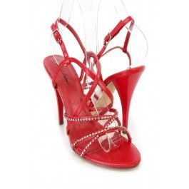 9407a9610 Red Strappy Rhinestone Detailing Single Sole Heels Faux Leather ...