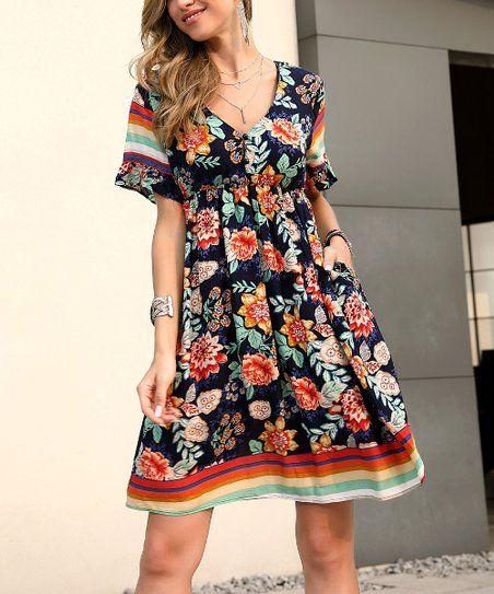 Burnout Dark Blue Floral Dress  Plus Size 1   Peasant style Burnout Floral Dress  Empire Waist Loose Fit   Trendy Plus Size  NOS