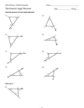 Triangle Angle Sum Worksheet Answers Kuta Software The Exterior Angle Theorem Answers Ebooks No In 2020 Worksheets Theorems Congruent Triangles Worksheet