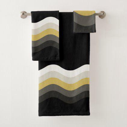 Black White And Gold Geometric Bath Towel Set Zazzle Com In