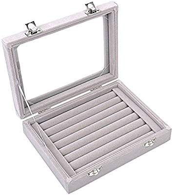Amazon Com Ivosmart 7 Slots Velvet Glass Ring Jewellery Display Storage Box Tray Case Holder Earring Organizer Tray Organization Jewelry Ring Box Ring Storage