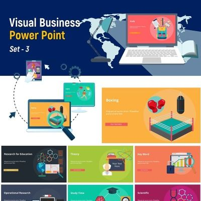 visual business set 4 powerpoint template themes for education