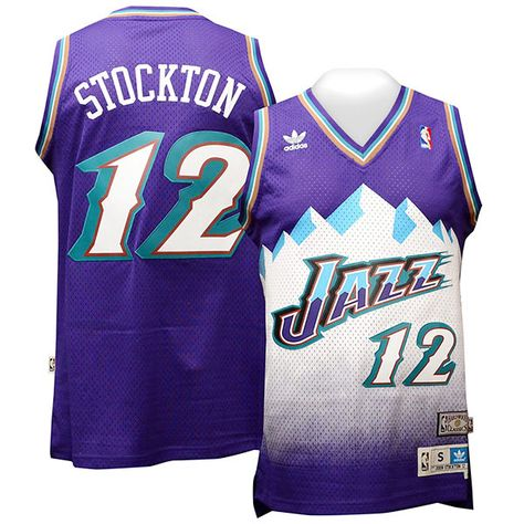 2bd1768d950 John Stockton Utah Jazz  12 Hardwood Classic Throwback Purple Jersey ...