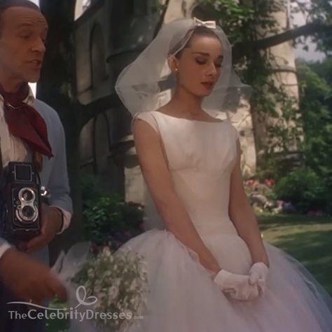 #AudreyHepburn #funnyface white #Aline tealength 1950s #WeddingDress. #moviedress #audrey #audreydress #ballgown